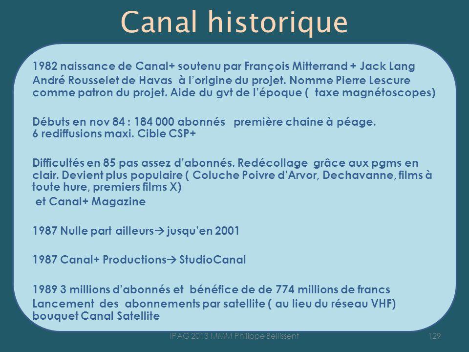 Canal historique 1982 naissance de Canal+ soutenu par François Mitterrand + Jack Lang André Rousselet de Havas à lorigine du projet.