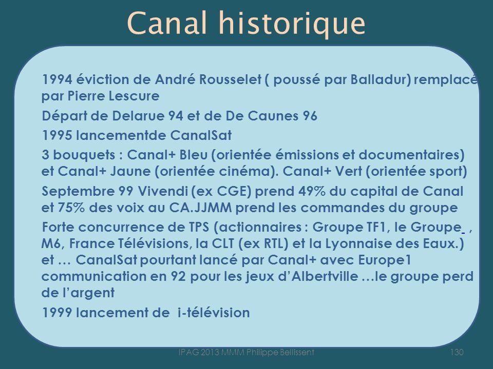 Canal historique 1994 éviction de André Rousselet ( poussé par Balladur) remplacé par Pierre Lescure Départ de Delarue 94 et de De Caunes 96 1995 lancementde CanalSat 3 bouquets : Canal+ Bleu (orientée émissions et documentaires) et Canal+ Jaune (orientée cinéma).