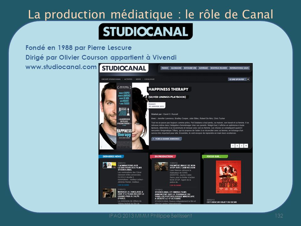 La production médiatique : le rôle de Canal Fondé en 1988 par Pierre Lescure Dirigé par Olivier Courson appartient à Vivendi www.studiocanal.com 132IPAG 2013 MMM Philippe Bellissent