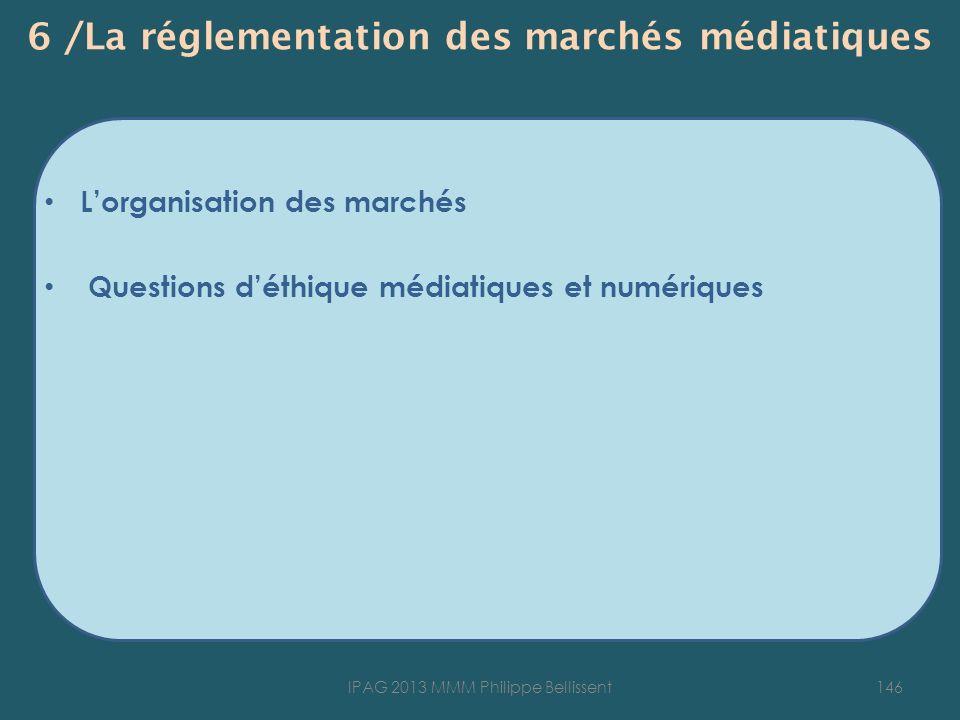 6 /La réglementation des marchés médiatiques Lorganisation des marchés Questions déthique médiatiques et numériques 146IPAG 2013 MMM Philippe Bellisse