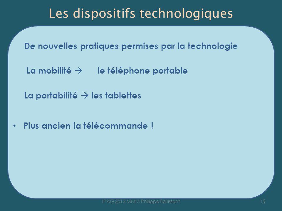 Les dispositifs technologiques De nouvelles pratiques permises par la technologie La mobilité le téléphone portable La portabilité les tablettes Plus