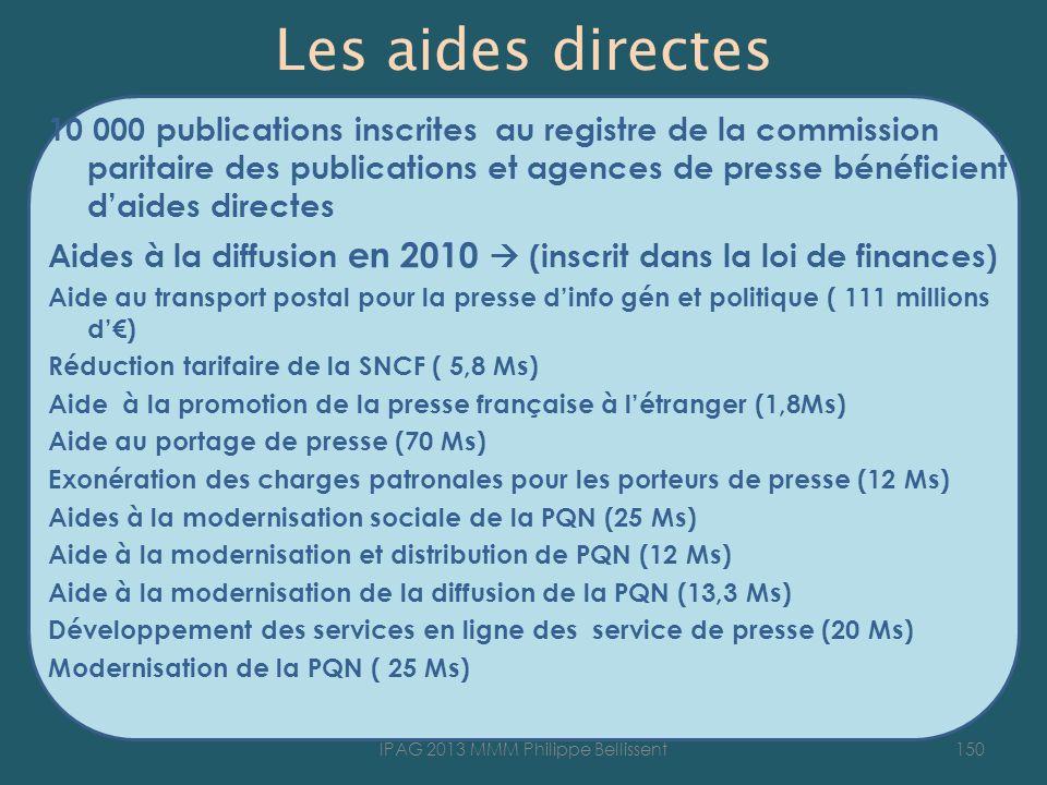Les aides directes 10 000 publications inscrites au registre de la commission paritaire des publications et agences de presse bénéficient daides directes Aides à la diffusion en 2010 (inscrit dans la loi de finances) Aide au transport postal pour la presse dinfo gén et politique ( 111 millions d) Réduction tarifaire de la SNCF ( 5,8 Ms) Aide à la promotion de la presse française à létranger (1,8Ms) Aide au portage de presse (70 Ms) Exonération des charges patronales pour les porteurs de presse (12 Ms) Aides à la modernisation sociale de la PQN (25 Ms) Aide à la modernisation et distribution de PQN (12 Ms) Aide à la modernisation de la diffusion de la PQN (13,3 Ms) Développement des services en ligne des service de presse (20 Ms) Modernisation de la PQN ( 25 Ms) 150IPAG 2013 MMM Philippe Bellissent