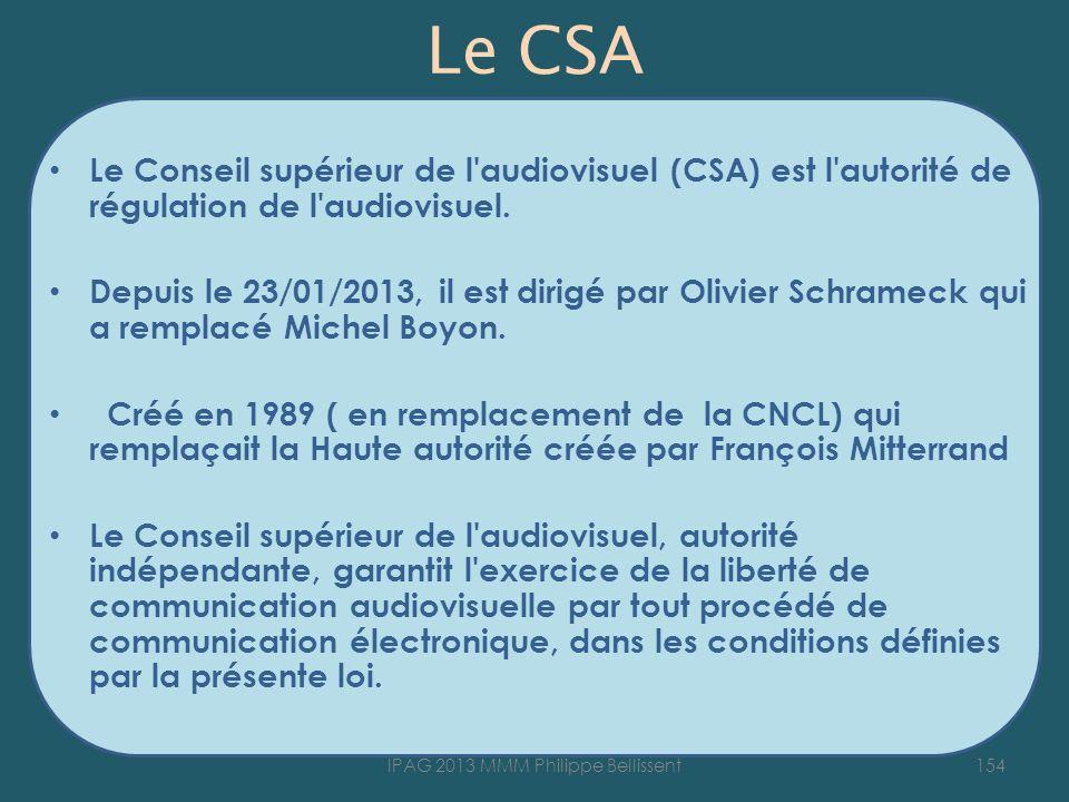 Le CSA Le Conseil supérieur de l'audiovisuel (CSA) est l'autorité de régulation de l'audiovisuel. Depuis le 23/01/2013, il est dirigé par Olivier Schr