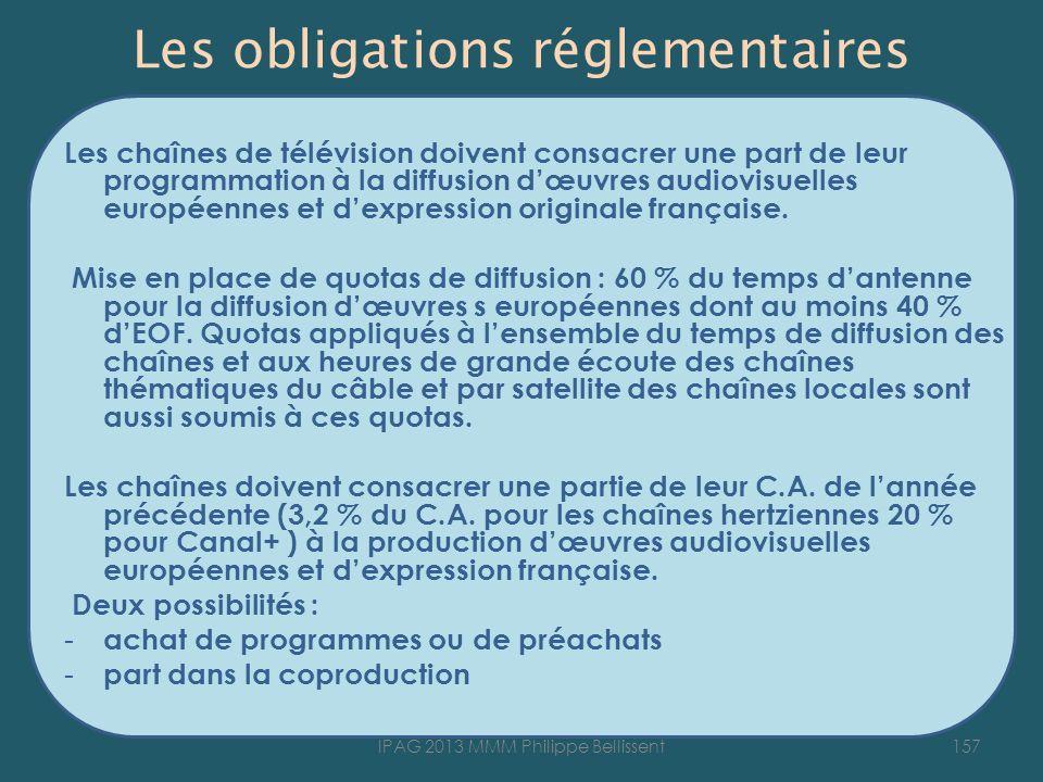 Les obligations réglementaires Les chaînes de télévision doivent consacrer une part de leur programmation à la diffusion dœuvres audiovisuelles européennes et dexpression originale française.