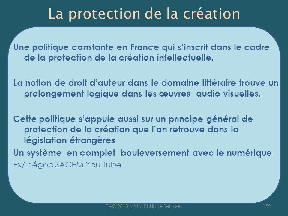 La protection de la création Une politique constante en France qui sinscrit dans le cadre de la protection de la création intellectuelle.