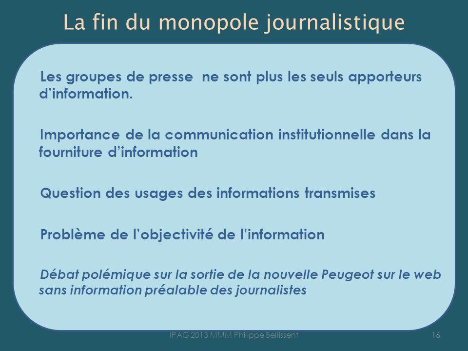 La fin du monopole journalistique Les groupes de presse ne sont plus les seuls apporteurs dinformation. Importance de la communication institutionnell