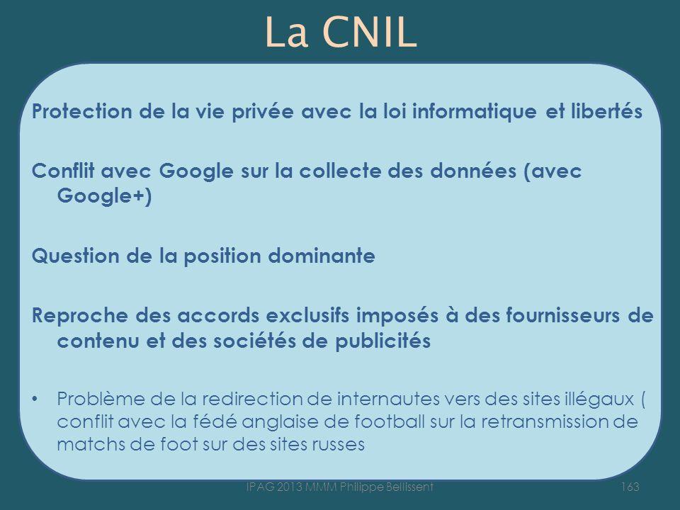 La CNIL Protection de la vie privée avec la loi informatique et libertés Conflit avec Google sur la collecte des données (avec Google+) Question de la
