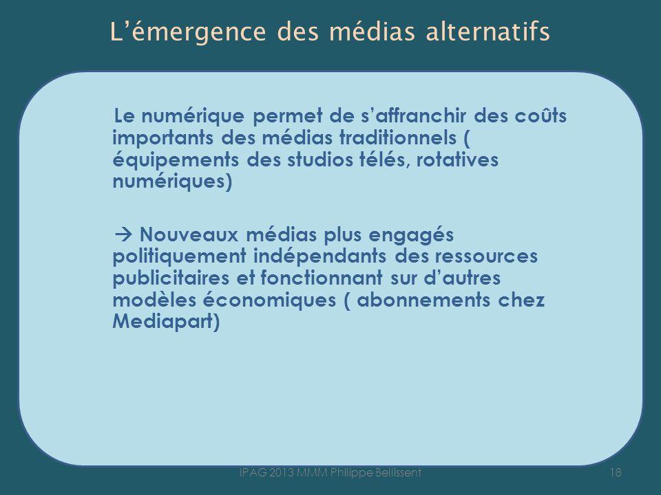 Lémergence des médias alternatifs Le numérique permet de saffranchir des coûts importants des médias traditionnels ( équipements des studios télés, ro