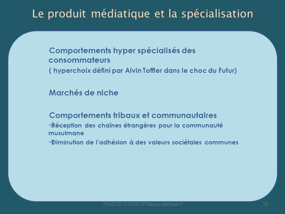 Le produit médiatique et la spécialisation Comportements hyper spécialisés des consommateurs ( hyperchoix défini par Alvin Toffler dans le choc du Fut