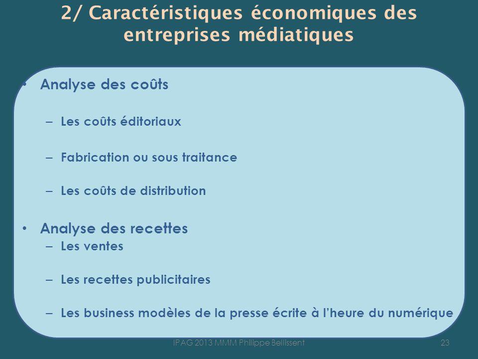 2/ Caractéristiques économiques des entreprises médiatiques Analyse des coûts – Les coûts éditoriaux – Fabrication ou sous traitance – Les coûts de di