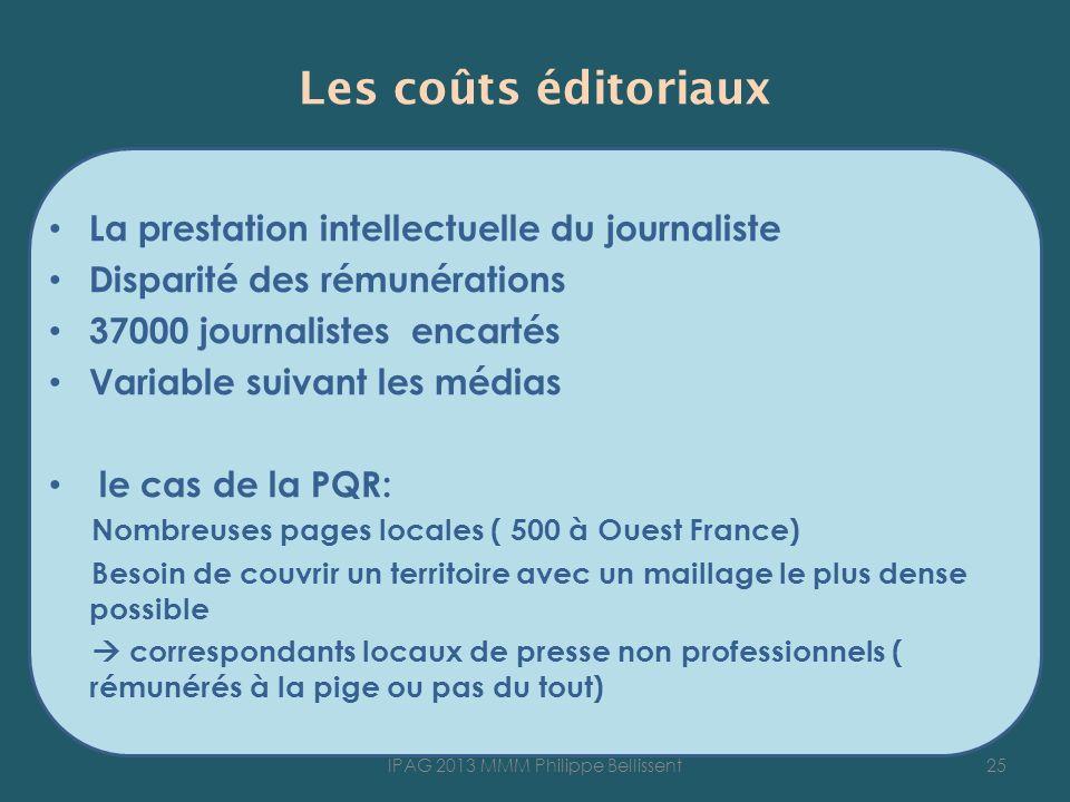 Les coûts éditoriaux La prestation intellectuelle du journaliste Disparité des rémunérations 37000 journalistes encartés Variable suivant les médias l