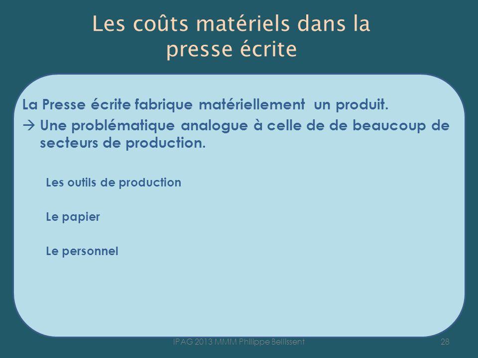 Les coûts matériels dans la presse écrite La Presse écrite fabrique matériellement un produit.