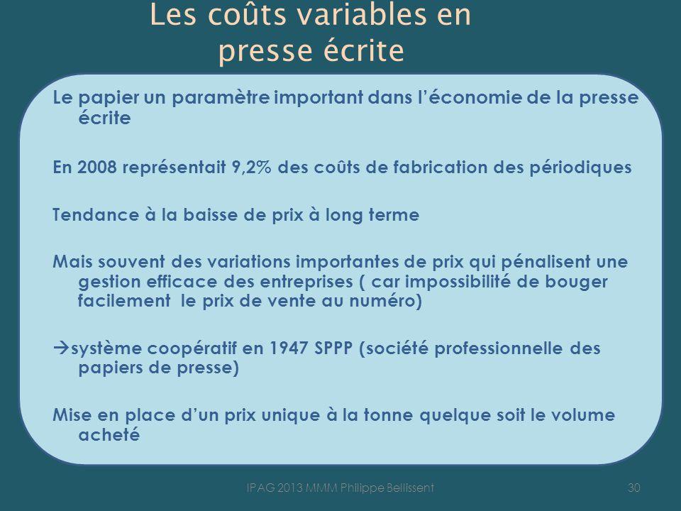Les coûts variables en presse écrite Le papier un paramètre important dans léconomie de la presse écrite En 2008 représentait 9,2% des coûts de fabric
