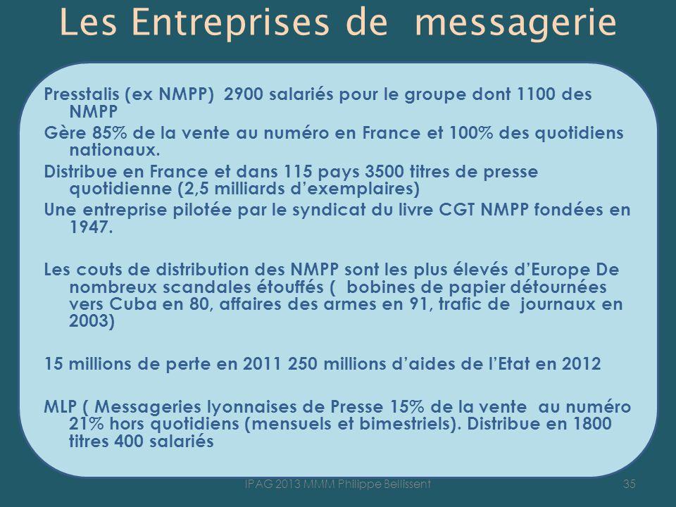 Les Entreprises de messagerie Presstalis (ex NMPP) 2900 salariés pour le groupe dont 1100 des NMPP Gère 85% de la vente au numéro en France et 100% des quotidiens nationaux.