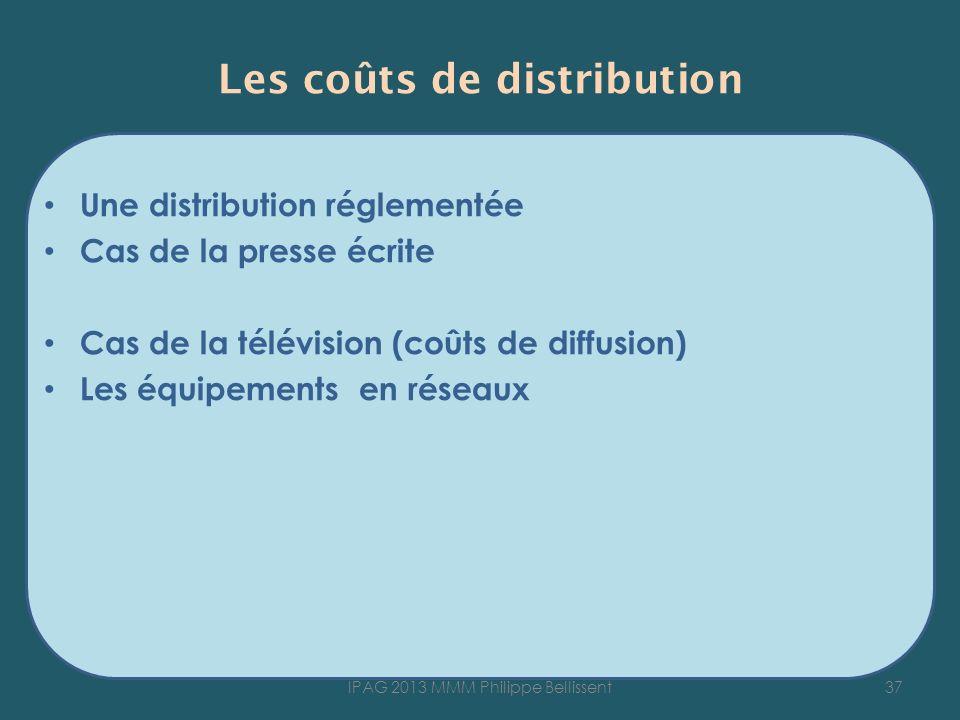 Les coûts de distribution Une distribution réglementée Cas de la presse écrite Cas de la télévision (coûts de diffusion) Les équipements en réseaux 37IPAG 2013 MMM Philippe Bellissent