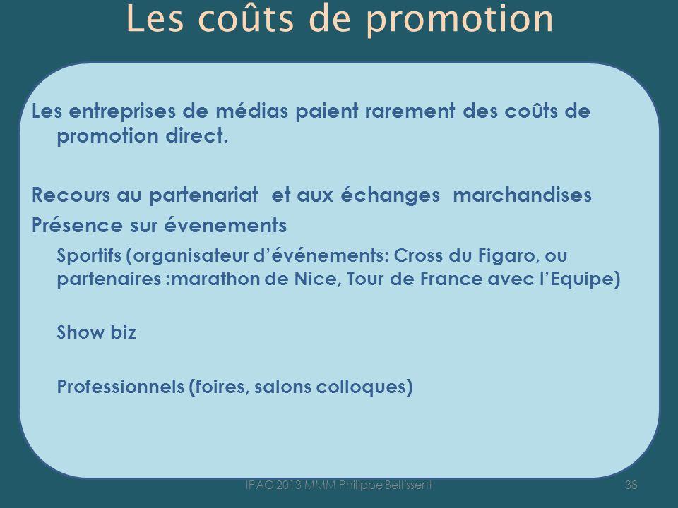 Les coûts de promotion Les entreprises de médias paient rarement des coûts de promotion direct. Recours au partenariat et aux échanges marchandises Pr