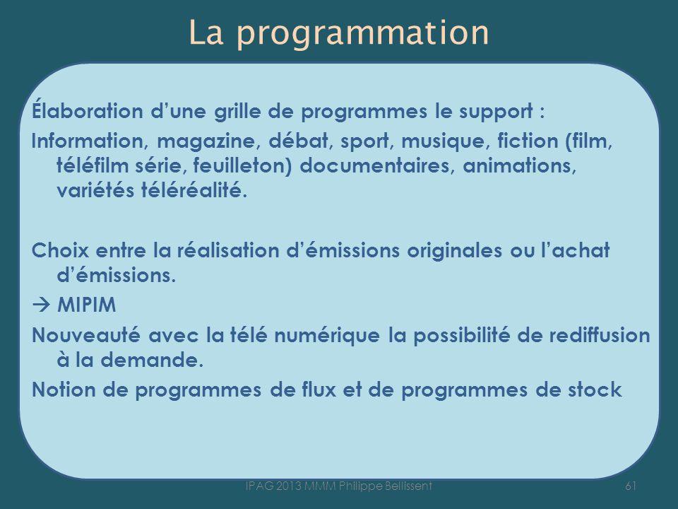 La programmation Élaboration dune grille de programmes le support : Information, magazine, débat, sport, musique, fiction (film, téléfilm série, feuil