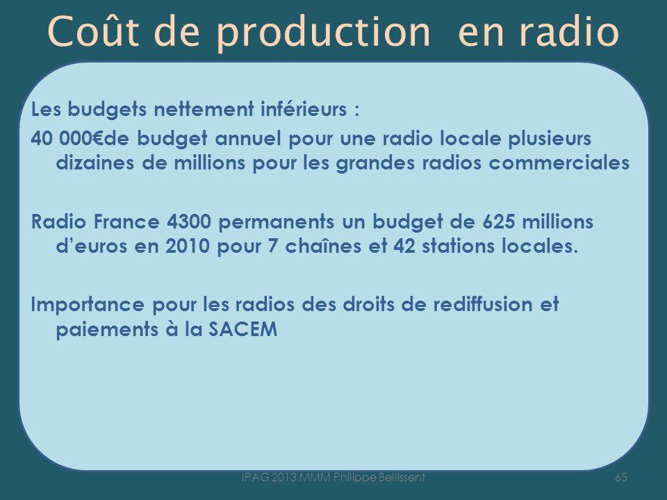 Coût de production en radio Les budgets nettement inférieurs : 40 000de budget annuel pour une radio locale plusieurs dizaines de millions pour les grandes radios commerciales Radio France 4300 permanents un budget de 625 millions deuros en 2010 pour 7 chaînes et 42 stations locales.