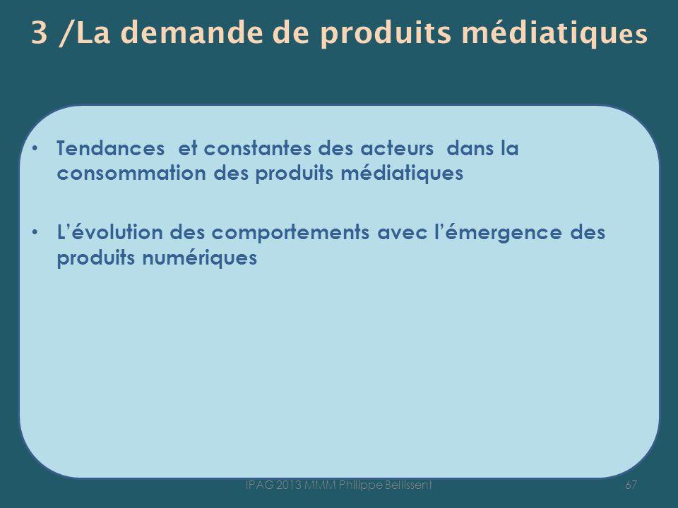 3 /La demande de produits médiatiqu es Tendances et constantes des acteurs dans la consommation des produits médiatiques Lévolution des comportements