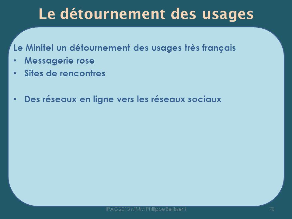 Le détournement des usages Le Minitel un détournement des usages très français Messagerie rose Sites de rencontres Des réseaux en ligne vers les réseaux sociaux 70IPAG 2013 MMM Philippe Bellissent