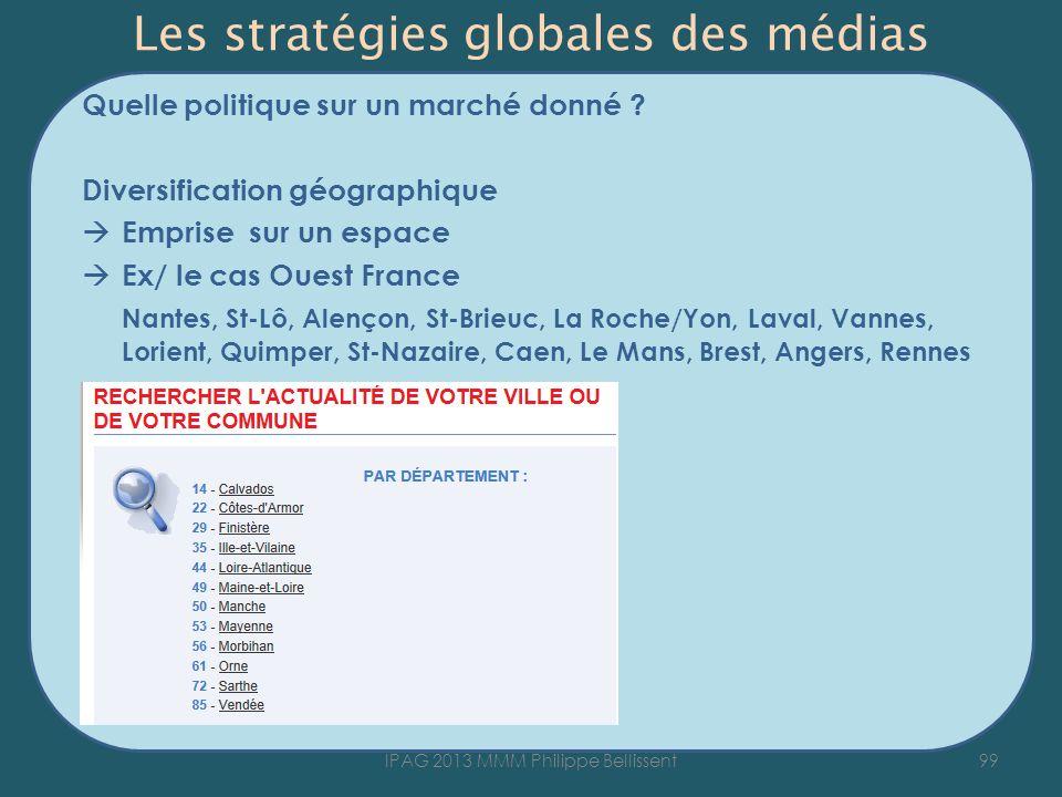 Les stratégies globales des médias Quelle politique sur un marché donné ? Diversification géographique Emprise sur un espace Ex/ le cas Ouest France N