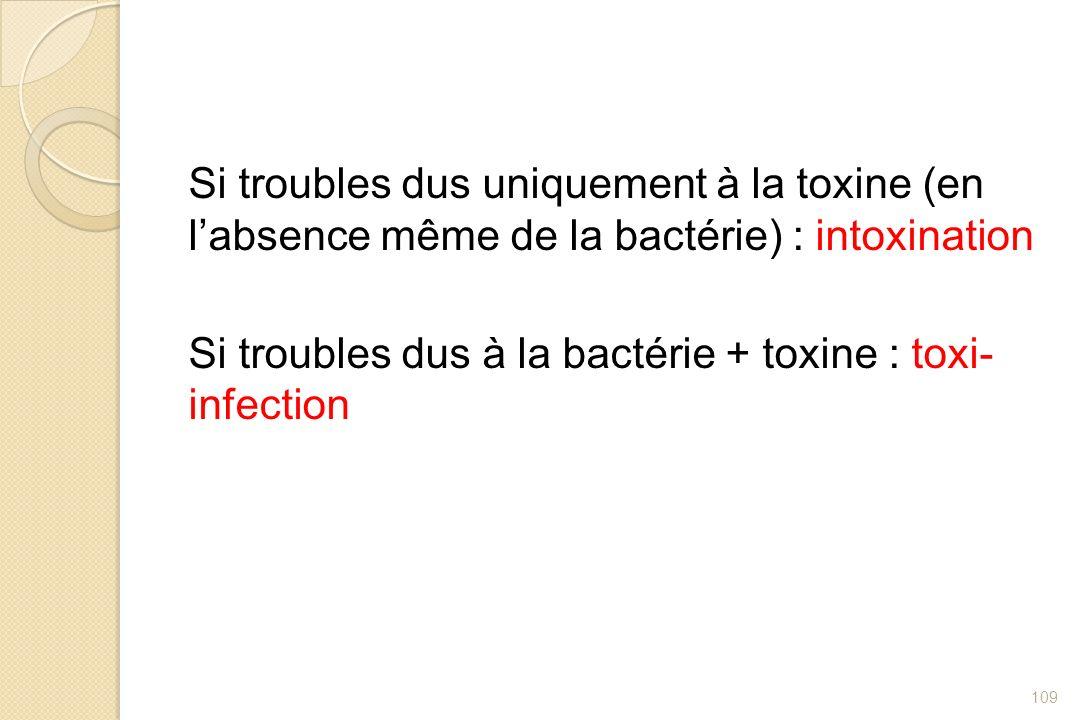 Si troubles dus uniquement à la toxine (en labsence même de la bactérie) : intoxination Si troubles dus à la bactérie + toxine : toxi- infection 109