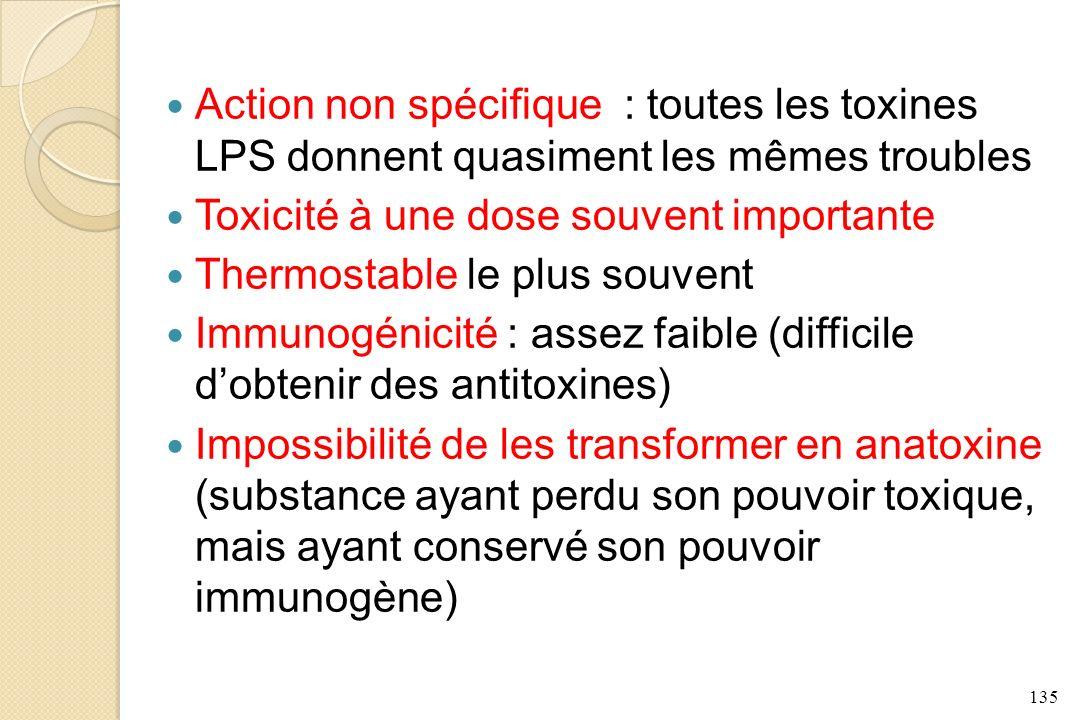 135 Action non spécifique : toutes les toxines LPS donnent quasiment les mêmes troubles Toxicité à une dose souvent importante Thermostable le plus so