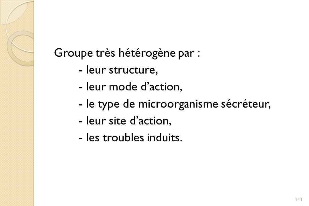 Groupe très hétérogène par : - leur structure, - leur mode daction, - le type de microorganisme sécréteur, - leur site daction, - les troubles induits