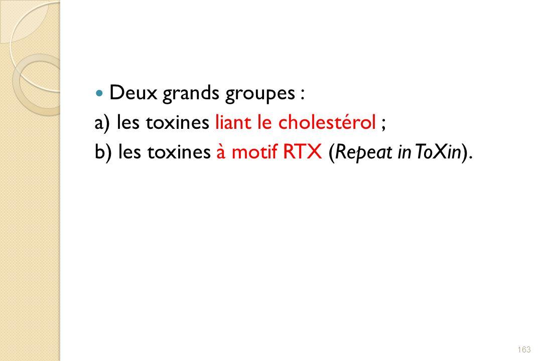 Deux grands groupes : a) les toxines liant le cholestérol ; b) les toxines à motif RTX (Repeat in ToXin). 163