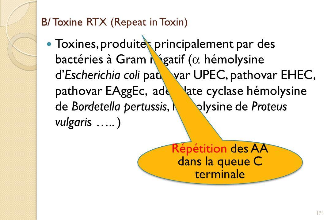 B/ Toxine B/ Toxine RTX (Repeat in Toxin) Toxines, produites principalement par des bactéries à Gram négatif ( hémolysine dEscherichia coli pathovar U