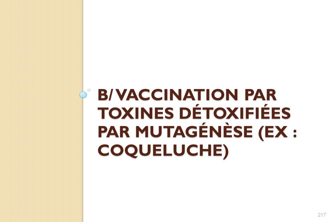 B/ VACCINATION PAR TOXINES DÉTOXIFIÉES PAR MUTAGÉNÈSE (EX : COQUELUCHE) 217
