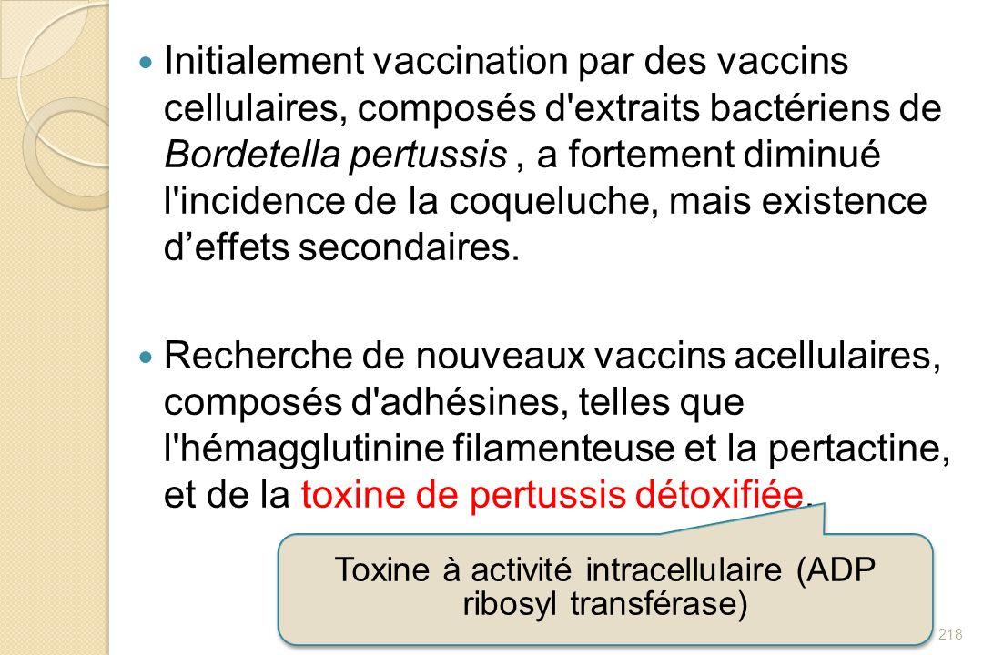 Initialement vaccination par des vaccins cellulaires, composés d'extraits bactériens de Bordetella pertussis, a fortement diminué l'incidence de la co