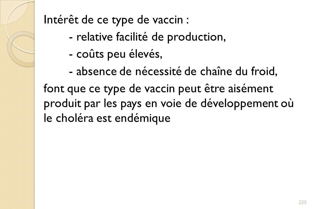 Intérêt de ce type de vaccin : - relative facilité de production, - coûts peu élevés, - absence de nécessité de chaîne du froid, font que ce type de v
