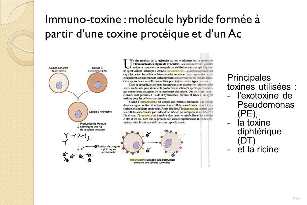 Immuno-toxine : molécule hybride formée à partir dune toxine protéique et dun Ac 227 Principales toxines utilisées : -l'exotoxine de Pseudomonas (PE),