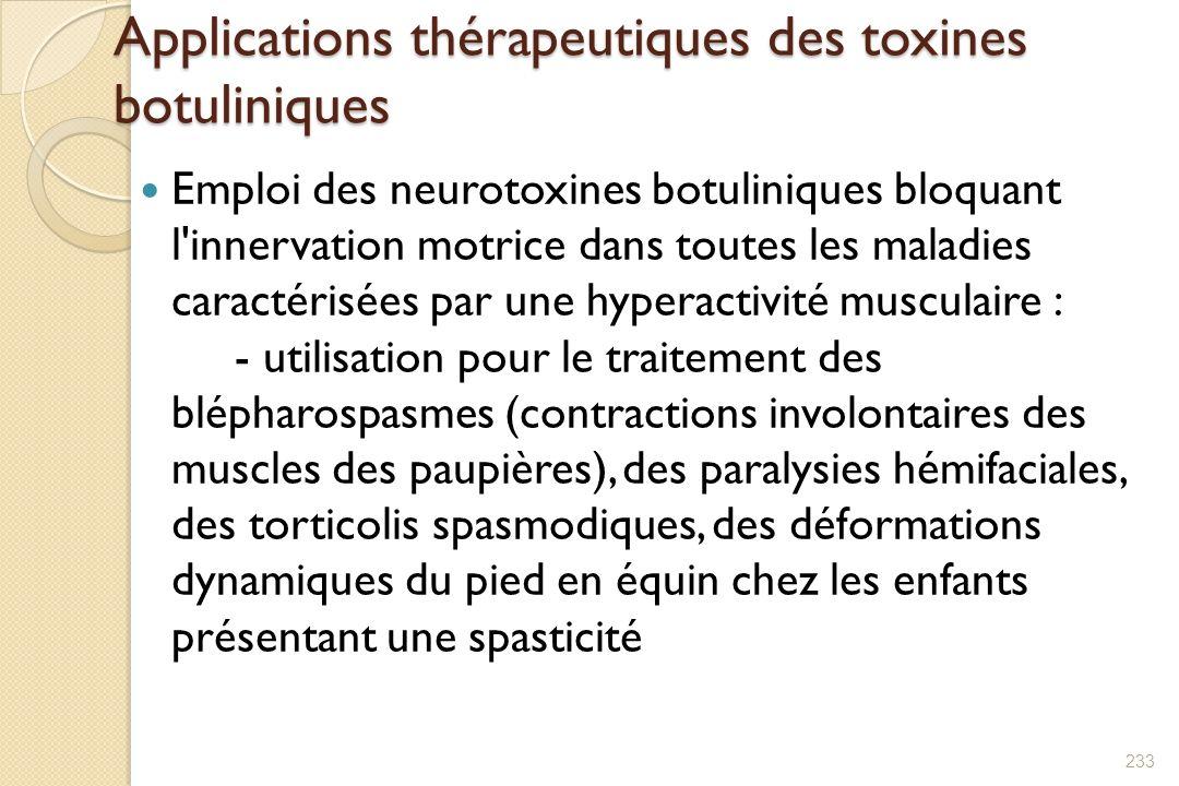Applications thérapeutiques des toxines botuliniques Emploi des neurotoxines botuliniques bloquant l'innervation motrice dans toutes les maladies cara