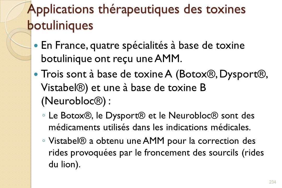 Applications thérapeutiques des toxines botuliniques En France, quatre spécialités à base de toxine botulinique ont reçu une AMM. Trois sont à base de