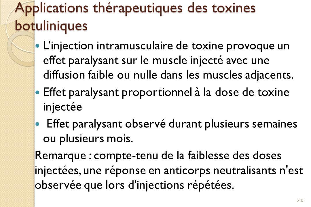 Applications thérapeutiques des toxines botuliniques Linjection intramusculaire de toxine provoque un effet paralysant sur le muscle injecté avec une