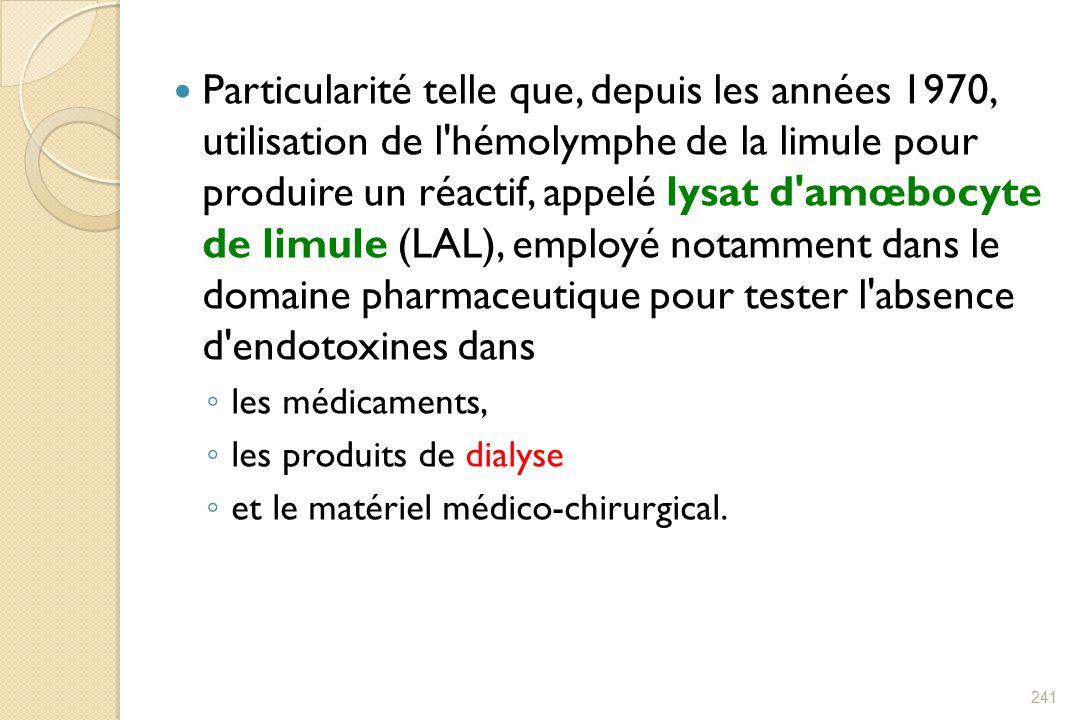 Particularité telle que, depuis les années 1970, utilisation de l'hémolymphe de la limule pour produire un réactif, appelé lysat d'amœbocyte de limule