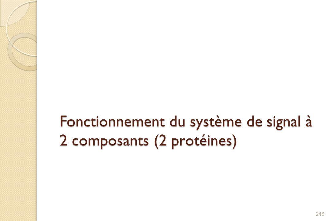 Fonctionnement du système de signal à 2 composants (2 protéines) 246