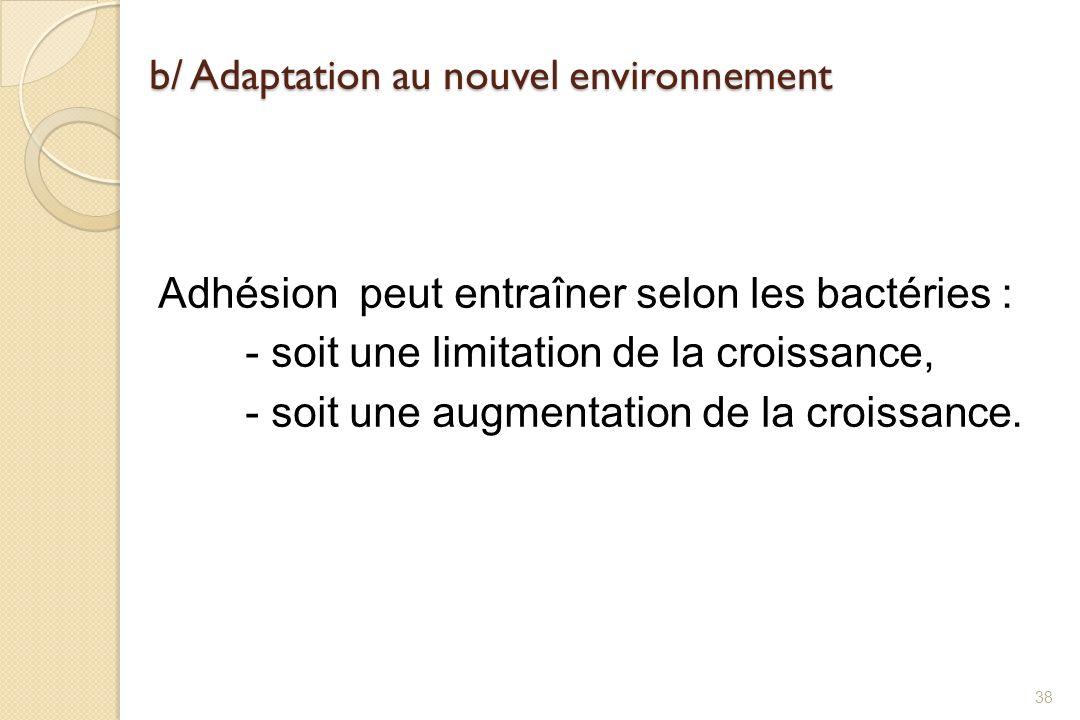 b/ Adaptation au nouvel environnement Adhésion peut entraîner selon les bactéries : - soit une limitation de la croissance, - soit une augmentation de