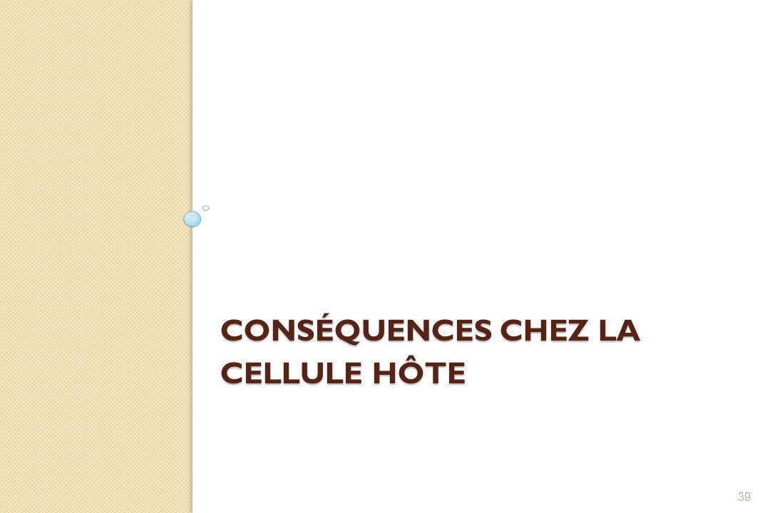 CONSÉQUENCES CHEZ LA CELLULE HÔTE 39