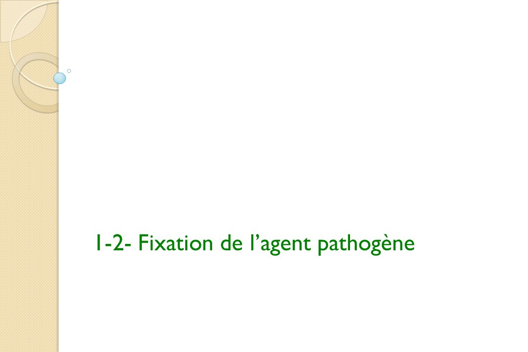 1-2- Fixation de lagent pathogène