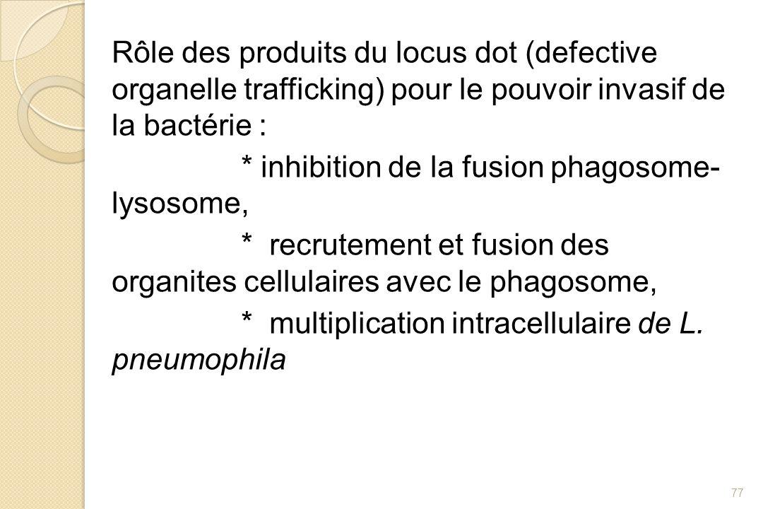 Rôle des produits du locus dot (defective organelle trafficking) pour le pouvoir invasif de la bactérie : * inhibition de la fusion phagosome- lysosom