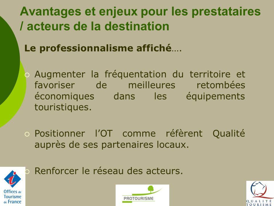 Avantages et enjeux pour les prestataires / acteurs de la destination Le professionnalisme affiché…. Augmenter la fréquentation du territoire et favor