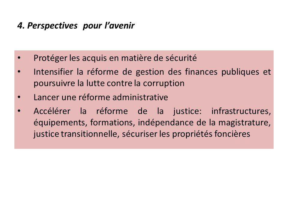 4. Perspectives pour lavenir Protéger les acquis en matière de sécurité Intensifier la réforme de gestion des finances publiques et poursuivre la lutt