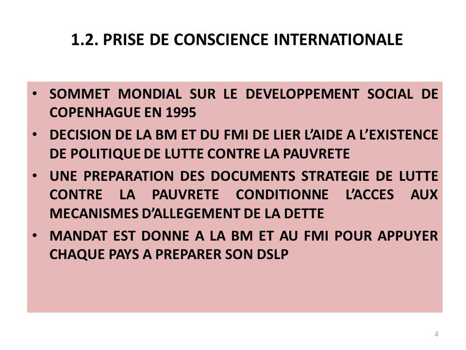 1.2. PRISE DE CONSCIENCE INTERNATIONALE 4 SOMMET MONDIAL SUR LE DEVELOPPEMENT SOCIAL DE COPENHAGUE EN 1995 DECISION DE LA BM ET DU FMI DE LIER LAIDE A