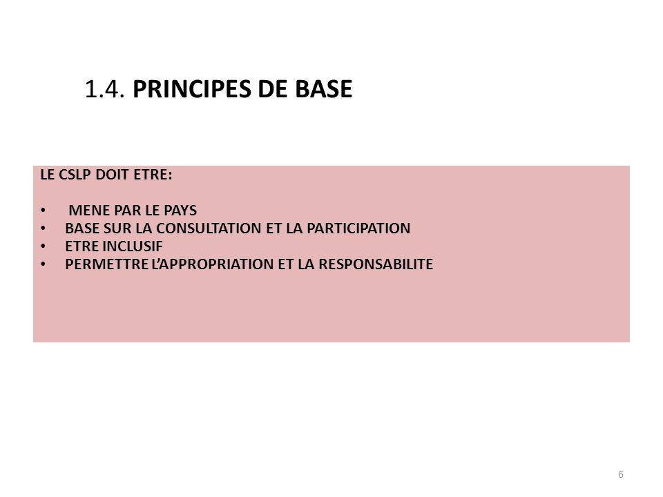 6 LE CSLP DOIT ETRE: MENE PAR LE PAYS BASE SUR LA CONSULTATION ET LA PARTICIPATION ETRE INCLUSIF PERMETTRE LAPPROPRIATION ET LA RESPONSABILITE 1.4.