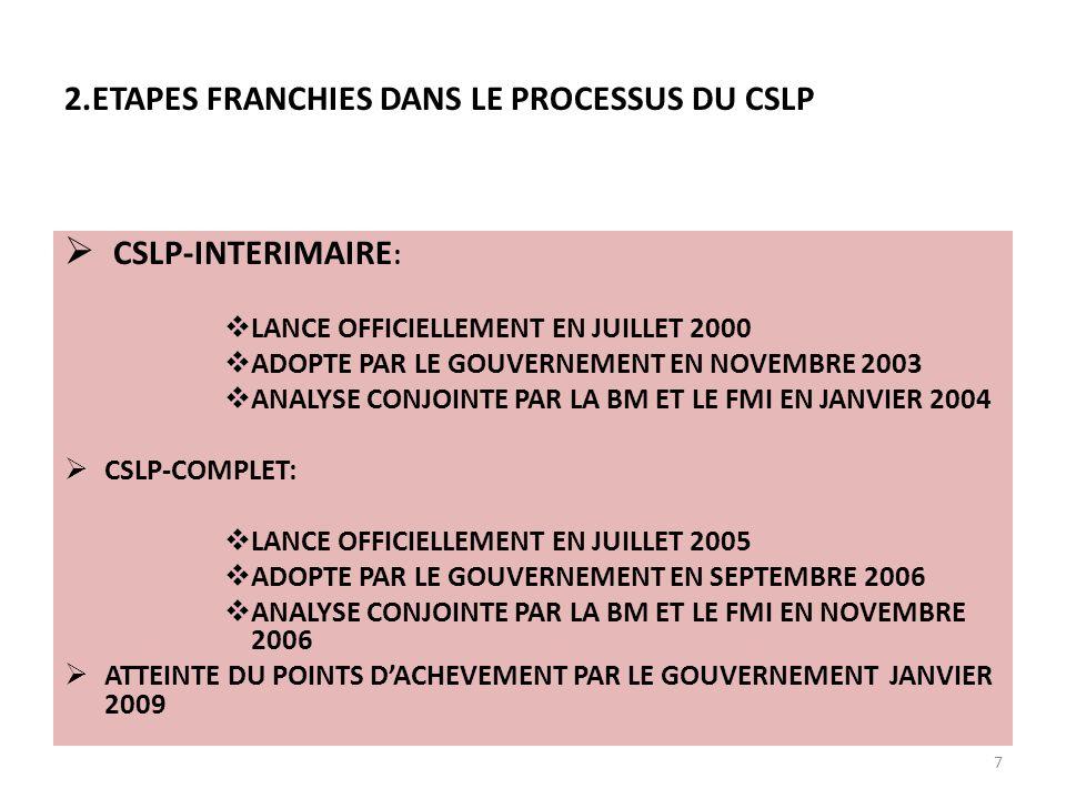 CSLP-INTERIMAIRE : LANCE OFFICIELLEMENT EN JUILLET 2000 ADOPTE PAR LE GOUVERNEMENT EN NOVEMBRE 2003 ANALYSE CONJOINTE PAR LA BM ET LE FMI EN JANVIER 2004 CSLP-COMPLET: LANCE OFFICIELLEMENT EN JUILLET 2005 ADOPTE PAR LE GOUVERNEMENT EN SEPTEMBRE 2006 ANALYSE CONJOINTE PAR LA BM ET LE FMI EN NOVEMBRE 2006 ATTEINTE DU POINTS DACHEVEMENT PAR LE GOUVERNEMENT JANVIER 2009 7 2.ETAPES FRANCHIES DANS LE PROCESSUS DU CSLP