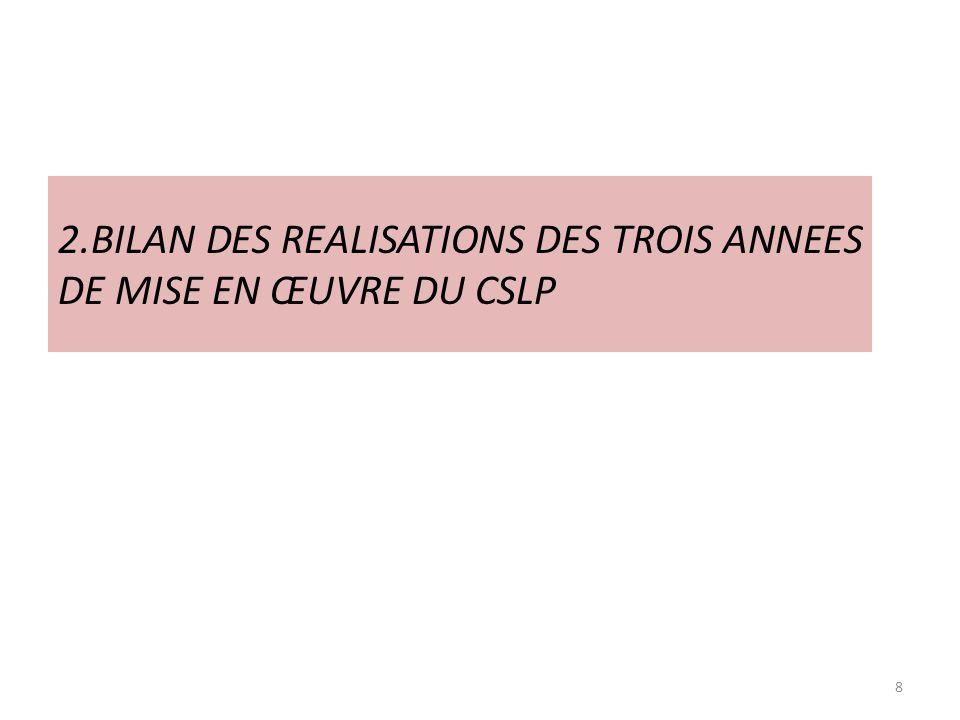 2.BILAN DES REALISATIONS DES TROIS ANNEES DE MISE EN ŒUVRE DU CSLP 8