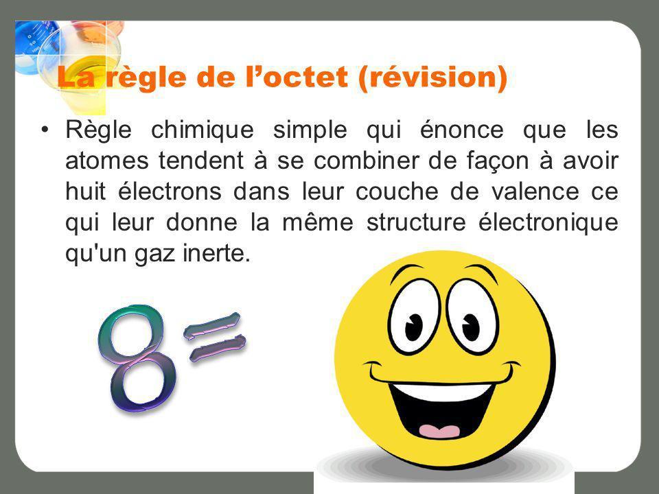 La règle de loctet (révision) Règle chimique simple qui énonce que les atomes tendent à se combiner de façon à avoir huit électrons dans leur couche d